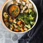 Cauliflower, Butternut & Black Bean Roast with Fat-Free Curry Sauce