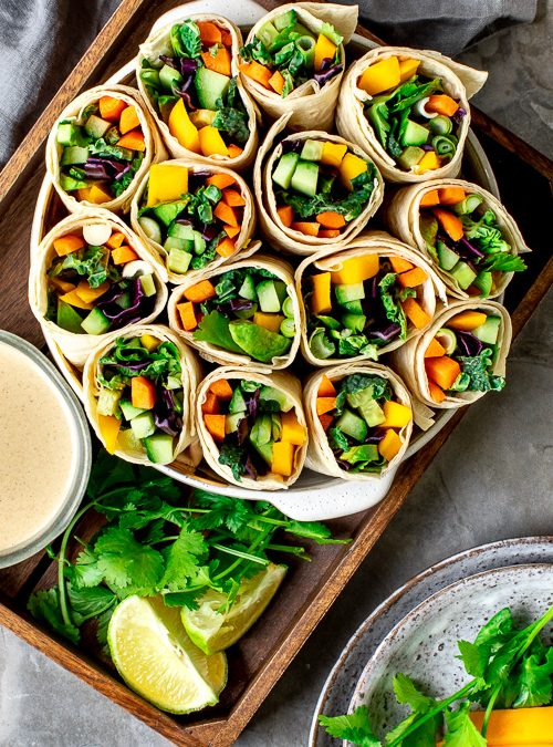 Rainbow Salad Wraps with Sweet Tahini & Lime Dipping Sauce