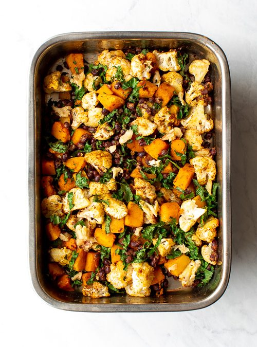 Cauliflower, Butternut & Black Beans with Roasted Garlic and Kale