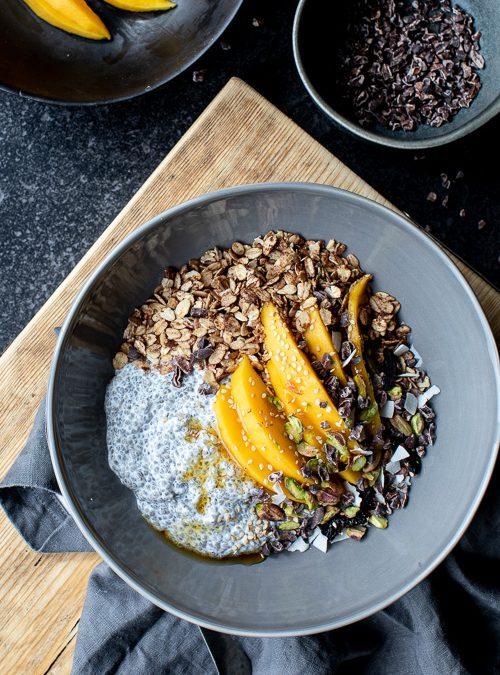 Mango, Chia Pudding, Granola & Pistachio Breakfast bowl