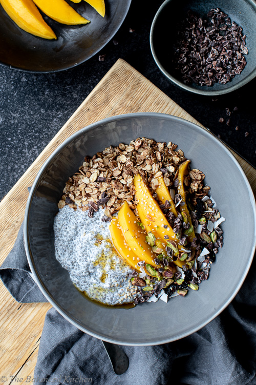 Mango, Chia Pudding, Granola & Pistachio Breakfast bowl