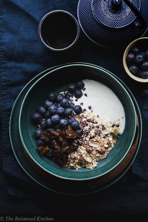 Dried Fig & Blueberries with Nutty Granola & Yoghurt