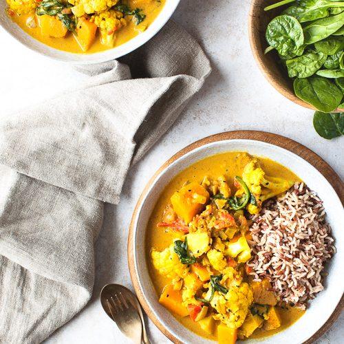 Peanut, Butternut & Cauliflower Stew with Wholegrain Rice