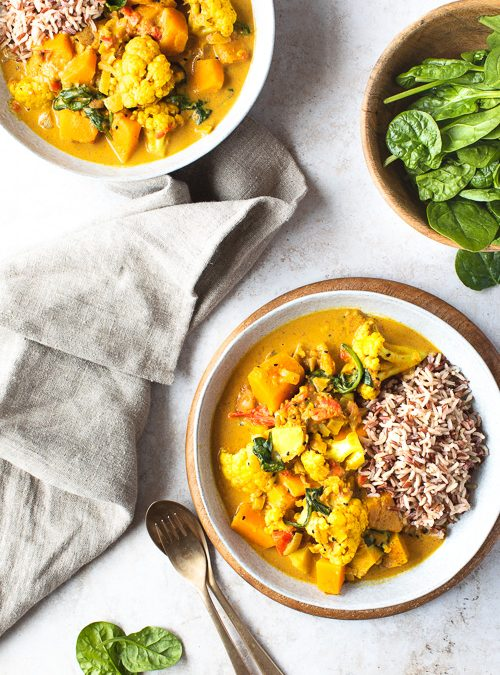 Peanut, Butternut & Cauliflower Stew with Wholegrain Rice