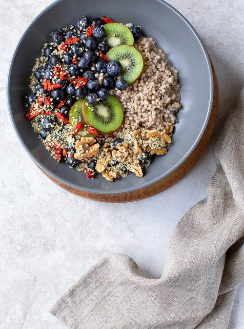 Buckwheat Groats with Hemp, Walnuts, Goji, Blueberries & Kiwi
