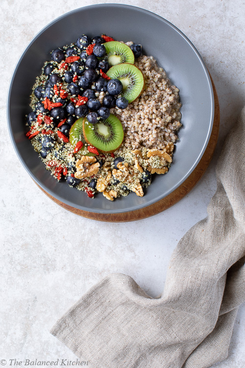 Buckwheat Groats with Hemp, Walnuts, Goji, Blueberries & Kiwi