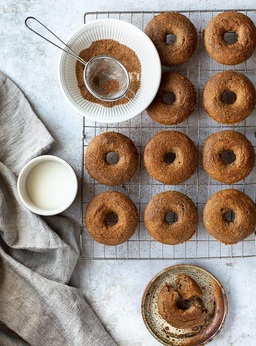 Baked, Sugar & Cinnamon topped, Spelt & Banana Doughnuts