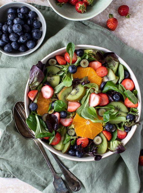 Green Leaf Salad with Strawberries, Blueberries, Orange & Kiwi