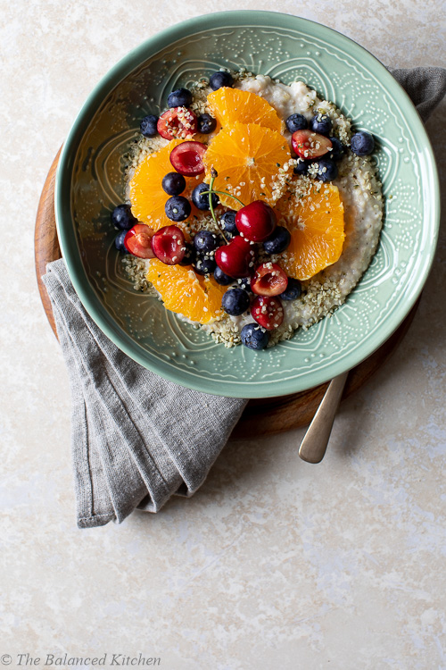 Warm Porridge Oats with Cherries, Blueberries & Orange