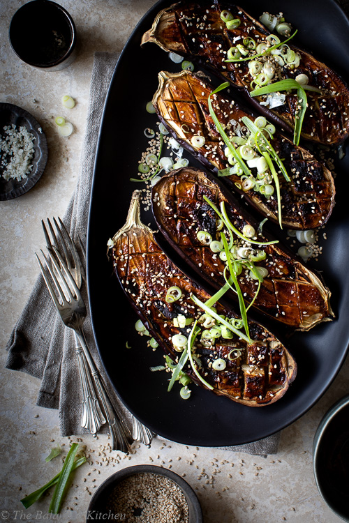 Miso Glazed Aubergine with Spring Onions & Toasted Sesame