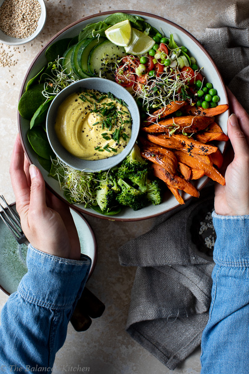 Sweet Potato Wedges Buddha Bowl with Curried Coconut Dip