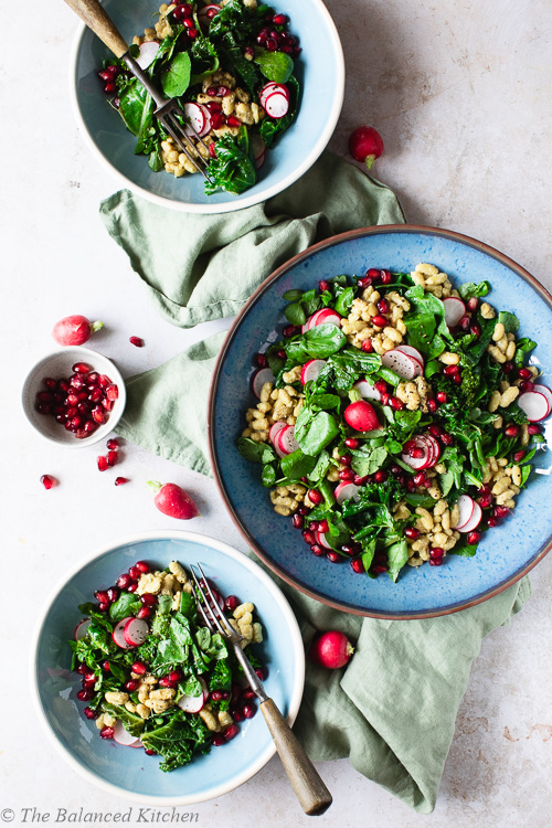Kale, Watercress, Pomegranate, Orange & Ginger Flageolet Beans