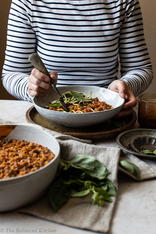 Mushroom, Lentil & Vegetable Ragu with Courgetti