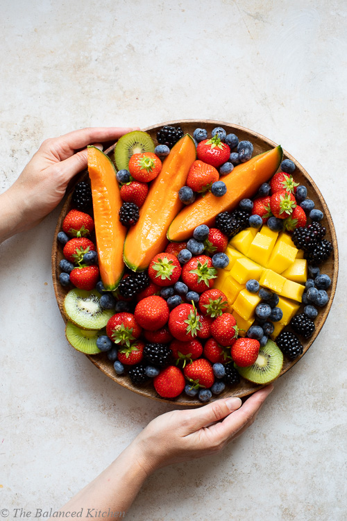 Summer Fruit Platter – Berries, Melon, Kiwi & Mango