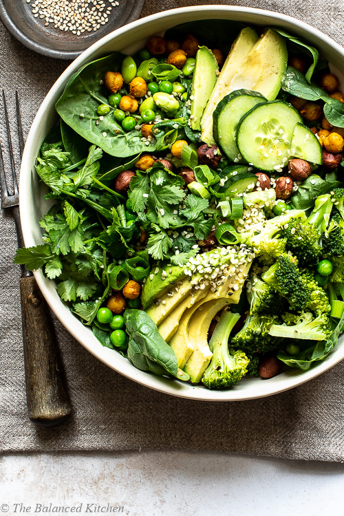 Green Goddess Dressed Salad with Avocado, Peas & Spicy Chickpeas
