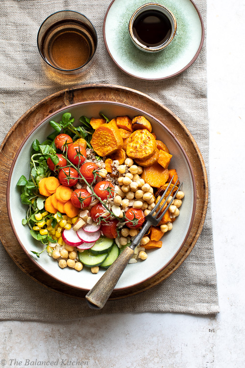 Roasted Garlic, Sweet Potatoes & Tomatoes with Chickpeas & Watercress