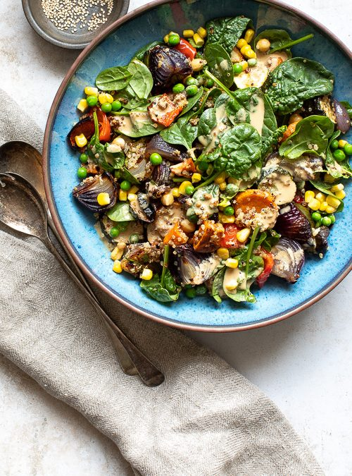 Roasted Veggies with Corn, Peas & Chickpeas – Tahini Dressing