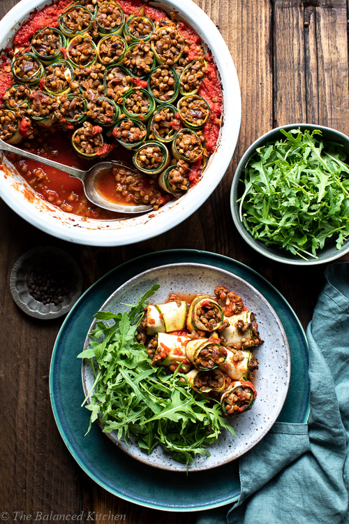 Garlic, Mushroom & Lentil Stuffed Courgette Spirals in Pesto Passata