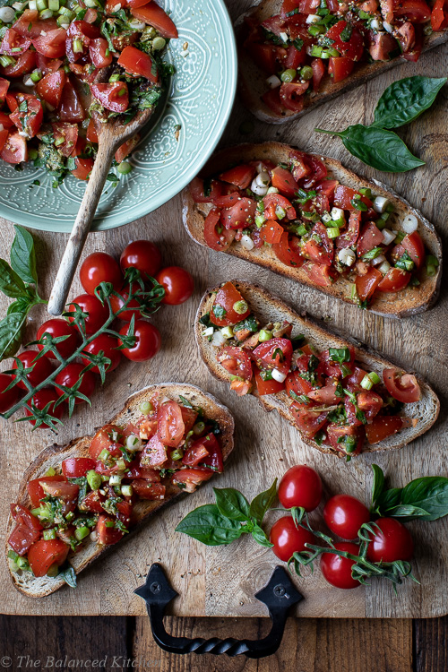Basil Pesto & Spring Onion Sourdough Bruschetta