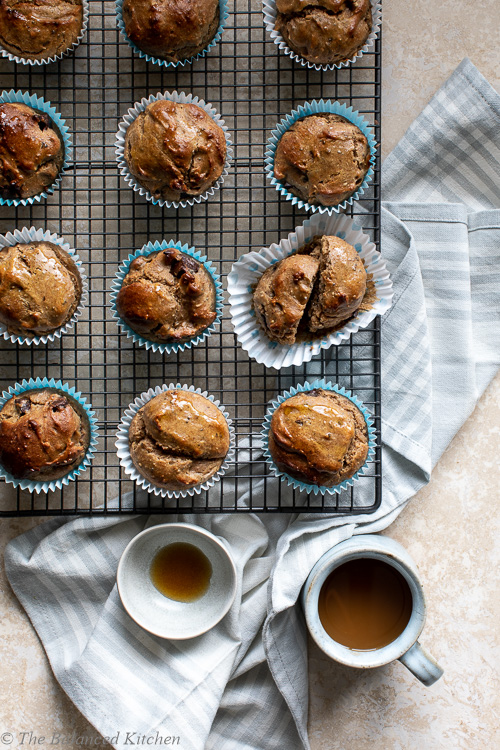 Banana & Peanut Butter, Choc Chunk Muffins – Gluten-free, Vegan