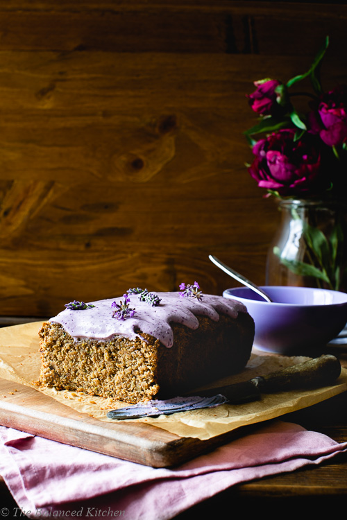 Vegan Courgette Loaf Cake with Blueberry Cream & Lavender Topping