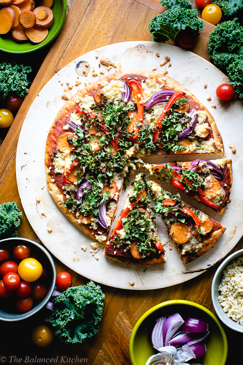 Sweet Potato, Bell Pepper & Onion Pizza with Kale Gremolata