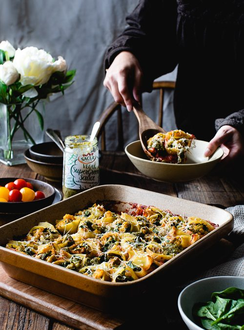 Butternut, Flageolet & Spinach Stuffed Pasta with Super Green Sauce
