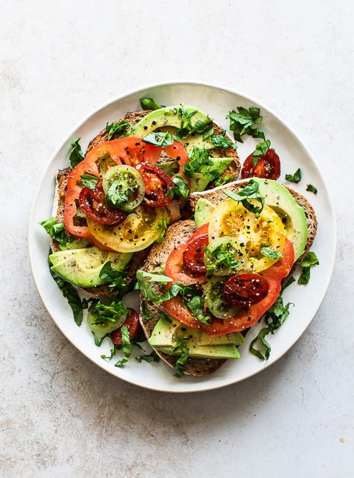 Heirloom Tomatoes on Sourdough Toast with Avocado & Spinach