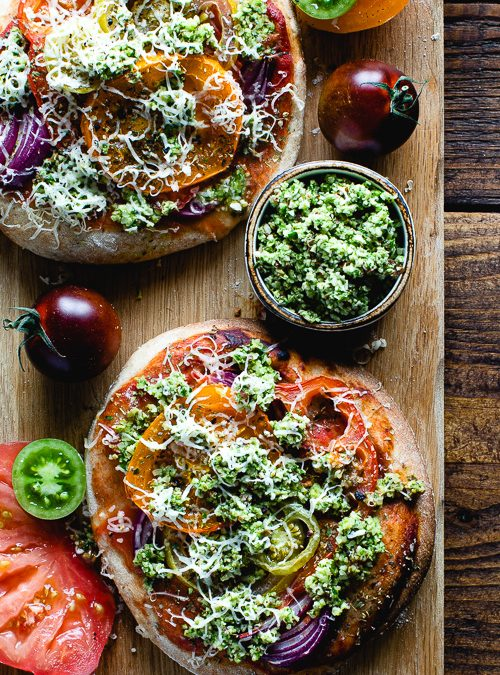 Heirloom Tomato Pizzas with Spinach Gremolata Topping