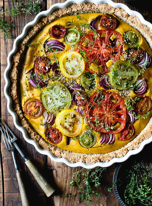 Turmeric, Thyme & Tomato with Red Onion Vegan Quiche