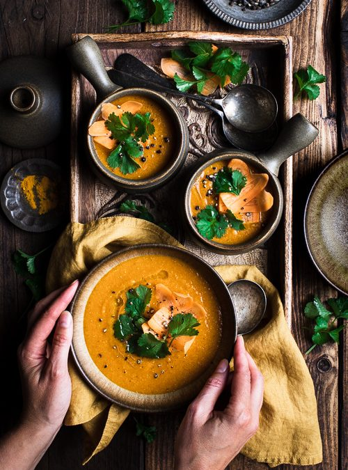 Red Lentil, Carrot, Cumin, Ginger & Coriander Soup