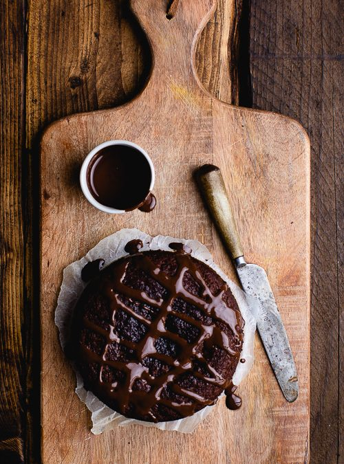 Chocolate Tahini Fudge Cake with Chocolate Topping