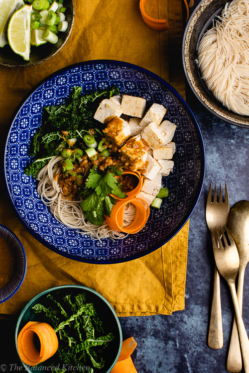 5 Ingredient Satay Sauce with Brown Rice Noodles & Tofu