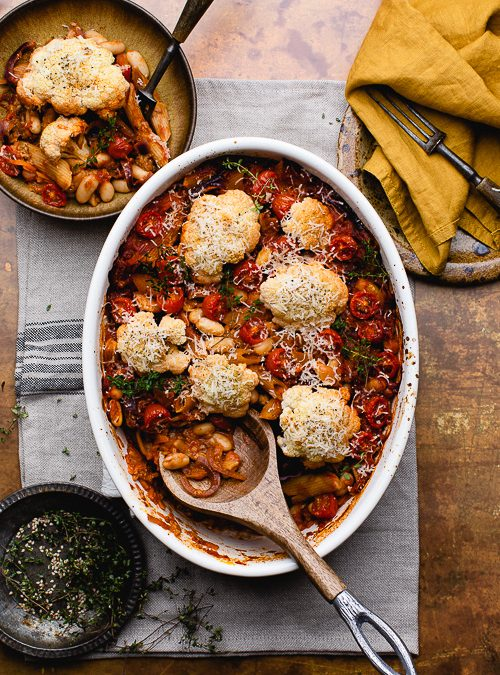 Spiced Peanut Cannellini Bean Pasta Bake with Cauliflower