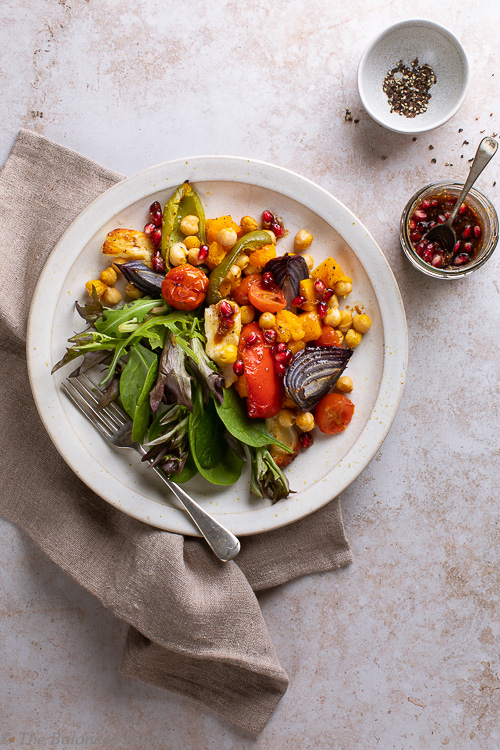 Roasted Butternut, Peppers & Red Onion with Chickpeas & Halloumi with Pomegranate Dressing
