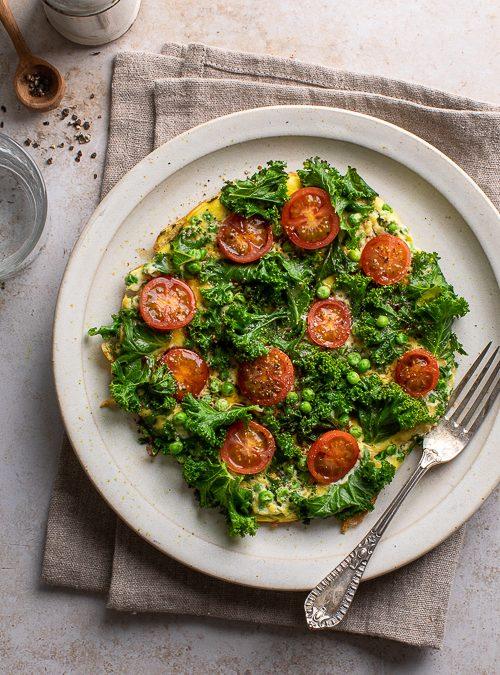 Kale, Tomato, Spring Onion & Pea Omelette
