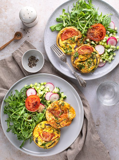 Mozzarella, Tomato & Spinach Frittatas with Salad