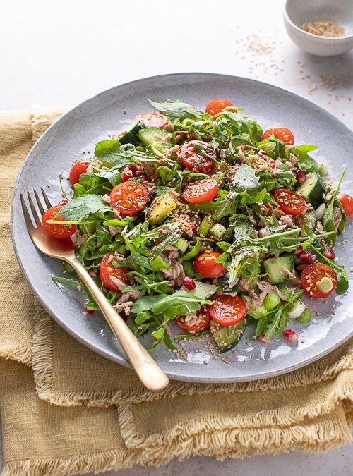 Tuna, Pomegranate & Rocket Salad with Tamari & Rice Wine