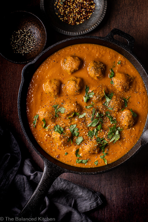 Meatballs in a Carrot & Turmeric Sauce with Coriander