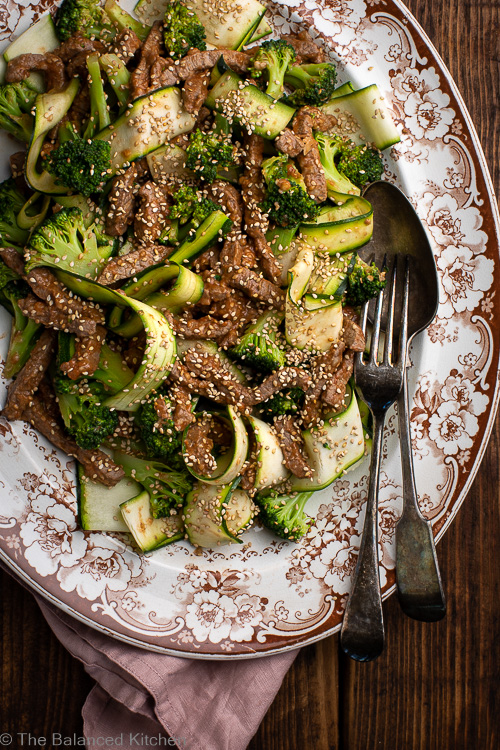Marinated Beef, Broccoli & Courgette Stir-Fry & Satay Sauce