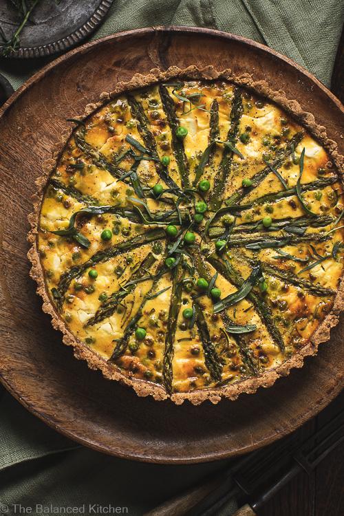 Asparagus, Pea & Tarragon in a Walnut Pastry Tart