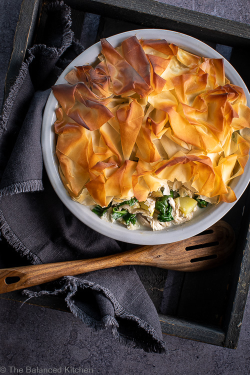 Chicken, Spinach & Tarragon Filo Pastry Topped Pie