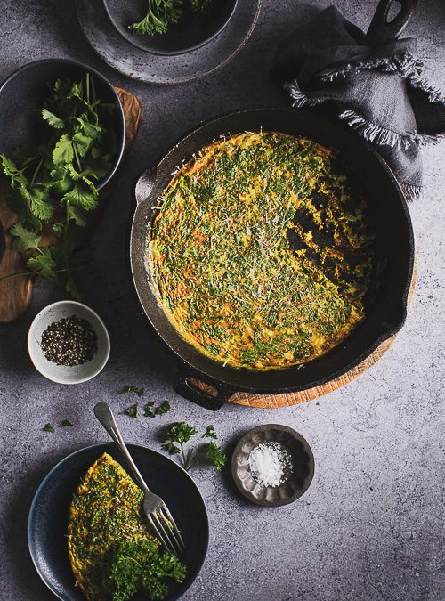 Green Herb Omelette with Ginger, Cumin & Turmeric
