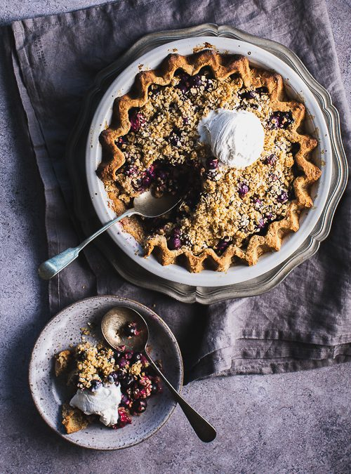 Deep Filled Blueberry Pie with Peanut Butter Pastry